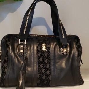 Lamb black leather satchel